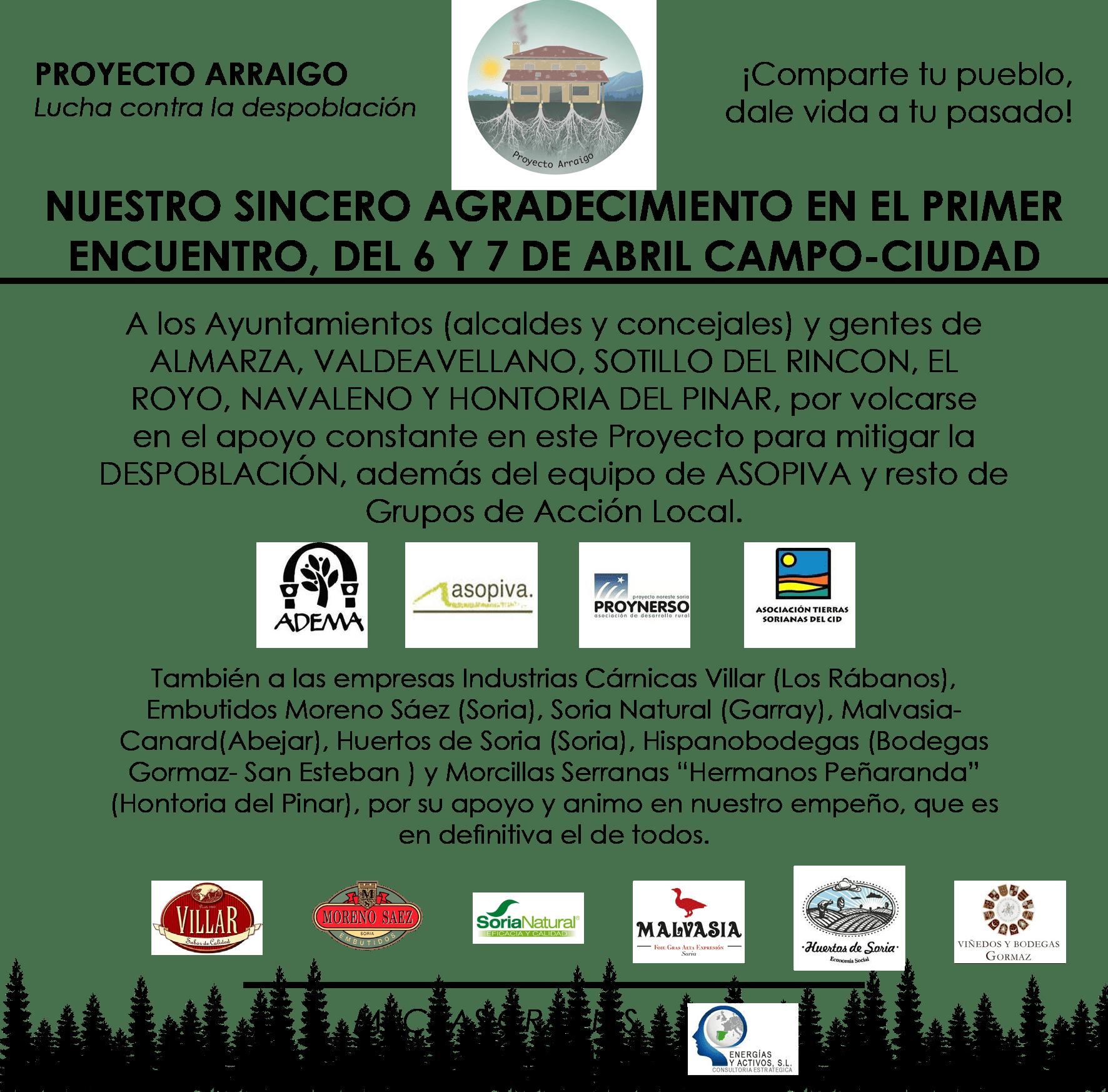 AGRADECIMIENTOS – Primera Reunión Pueblo – Ciudad